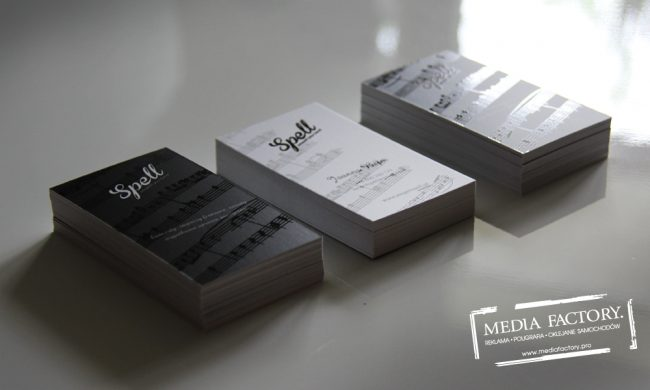 wizytowka SPELL JAZZ folia mat lakier wybiórczy punktowy UV czarno białe black white 1