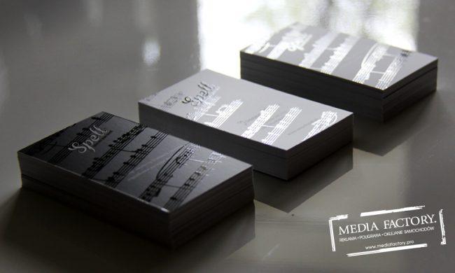 wizytowka SPELL JAZZ folia mat lakier wybiórczy punktowy UV czarno białe black white 3