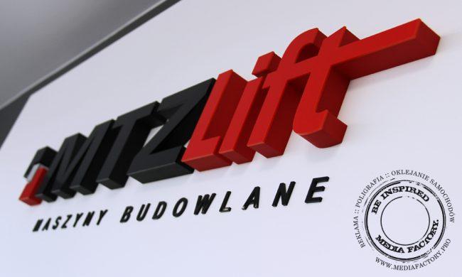 logo przestrzenne MTZLIFT styrodur plexi 1