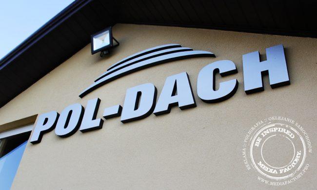logotyp przestrzenny POLDACH styrodur plyta kompozytowa dibond szczotkowane aluminium 1