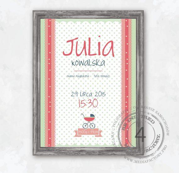 metryczka dla dziecka prezent ramka obrazek dane parametry JULIA SZABLON 4