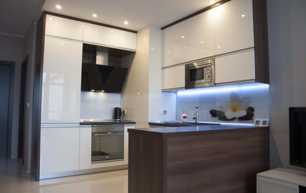 Glass wall panels in the kitchen