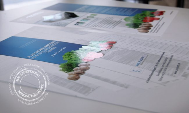 folder katalog POS PLASTIC 3xA4 kreda folia mat lakier wybiorczy UV skladany 3