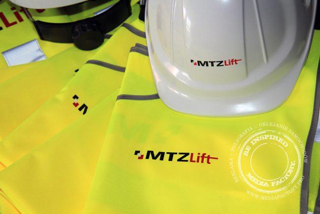 kamizelki odblaskowe i kaski z nadrukiem MTZ 2